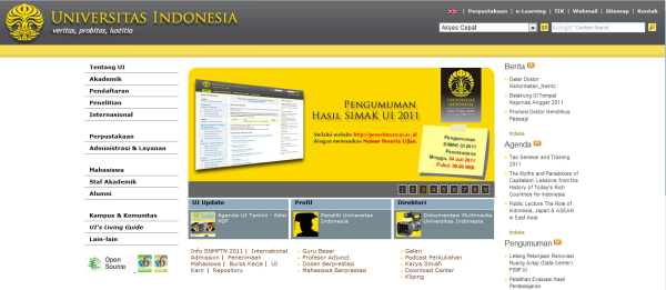 Website UI, Laman Paling Eksis se-Indonesia